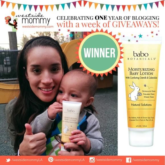 Marivela, winner of Babo Botanicals lotion