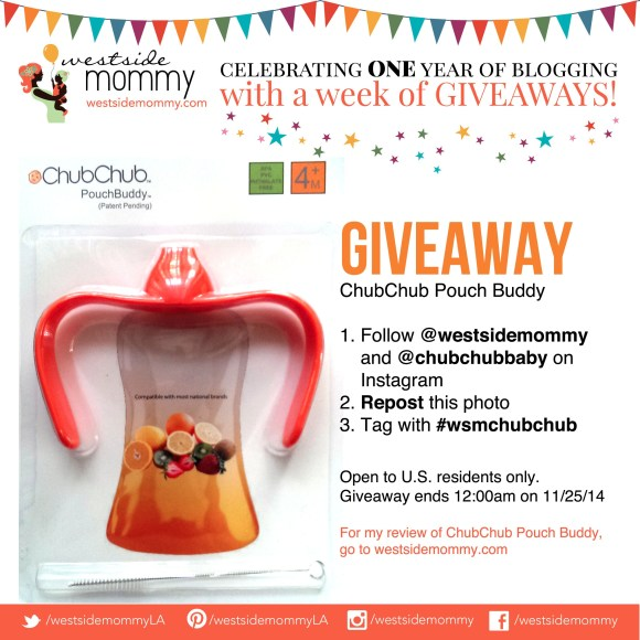 Enter the giveaway on Instagram for ChubChub Pouch Buddy!