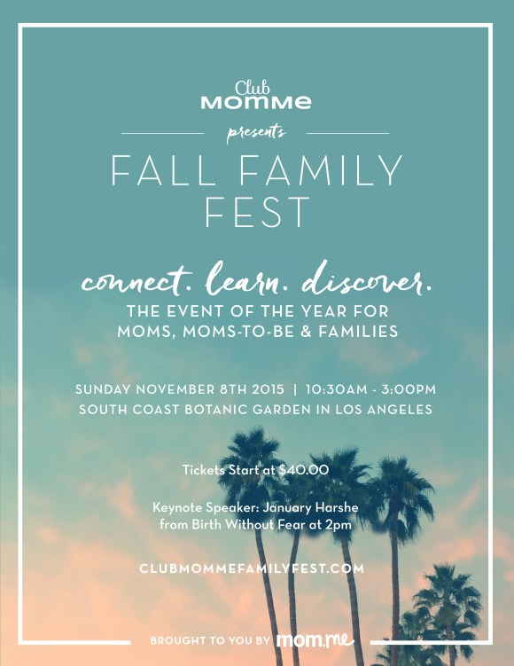 WIN TICKETS to Club MomMe's 2015 Fall Family Fest on WestsideMommy.com Sunday, November 8th, 2015 10:30am - 3:00pm South Coast Botanic Garden Los Angeles ClubMomMeFamilyFest.com Brought to you by mom.me