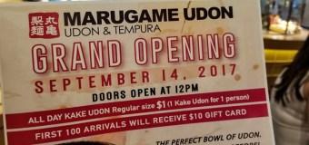 MARUGAME UDON Opens on the Westside September 14th