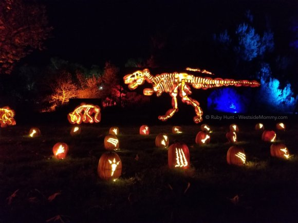 Dinosaur Jack o Lantern Display Nights of the Jack Event in Calabasas, California Post on WestsideMommy.com