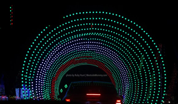 Christmas light tunnel at Christmas in Color Los Angeles at Raging Waters in San Dimas. Photo by Ruby Hunt for WestsideMommy.com