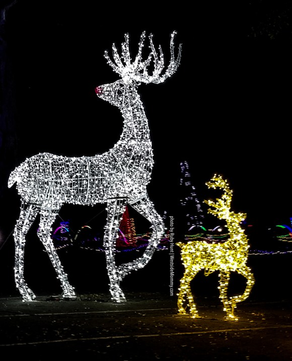 Lighted Reindeer at Christmas in Color Los Angeles at Raging Waters in San Dimas. Photo by Ruby Hunt for WestsideMommy.com