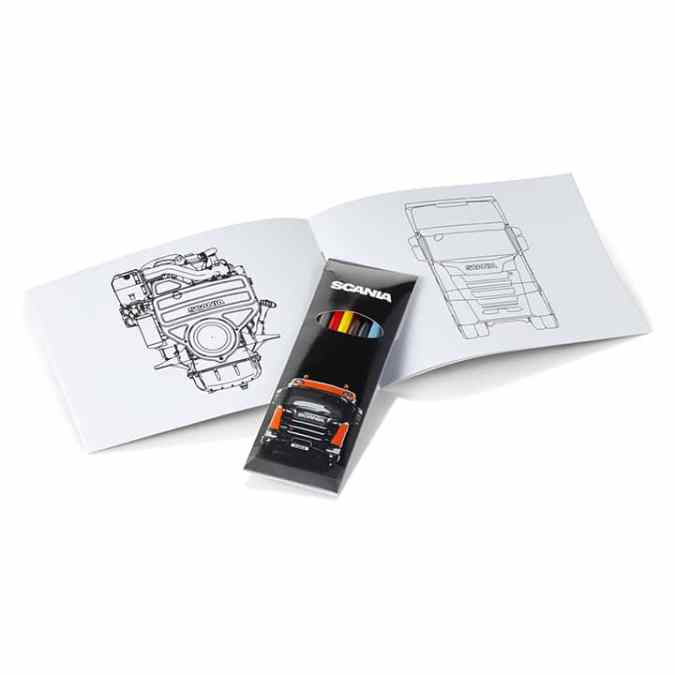 Scania colouring book open