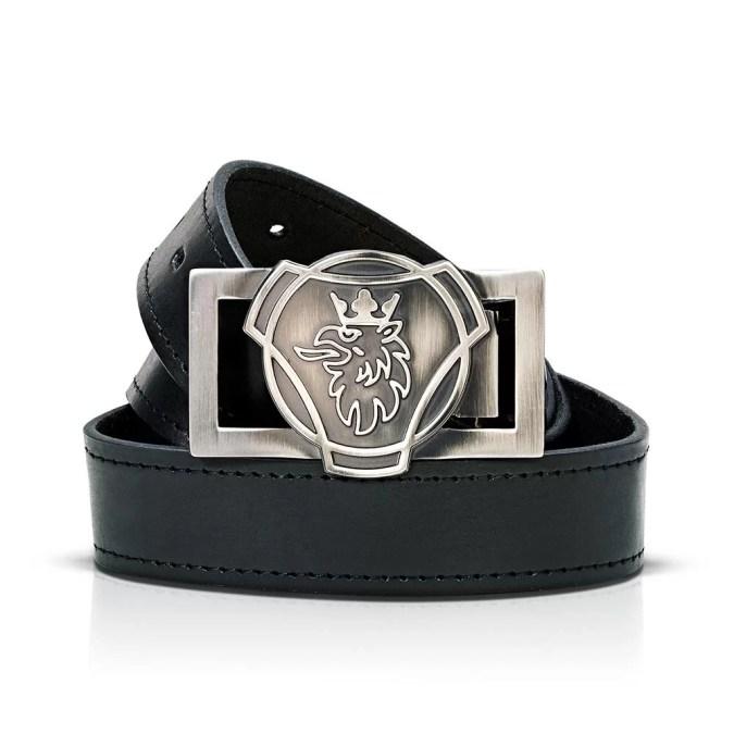 Scania black leather belt