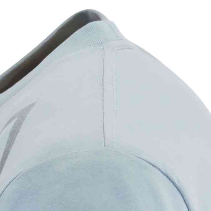 Scania mens blue vabis tshirt shoulder close up