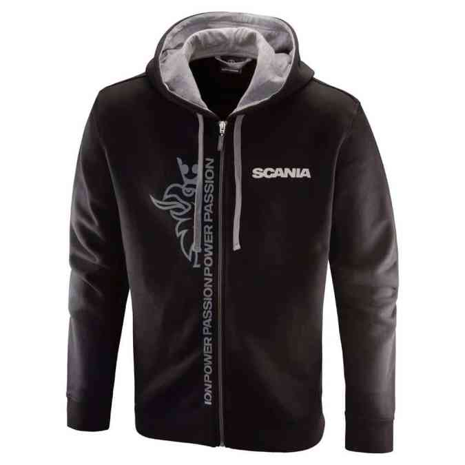 Scania mens black cropped griffin zip hoodie