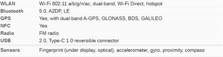 Realme x2 pro connection and sensors specs