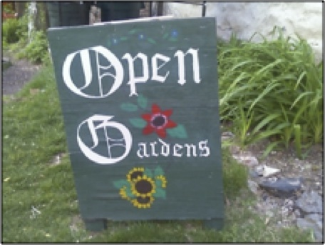Sign for Open Gardens