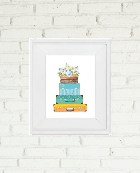 Suitcase Floral Printable for home decor | We Three Shanes