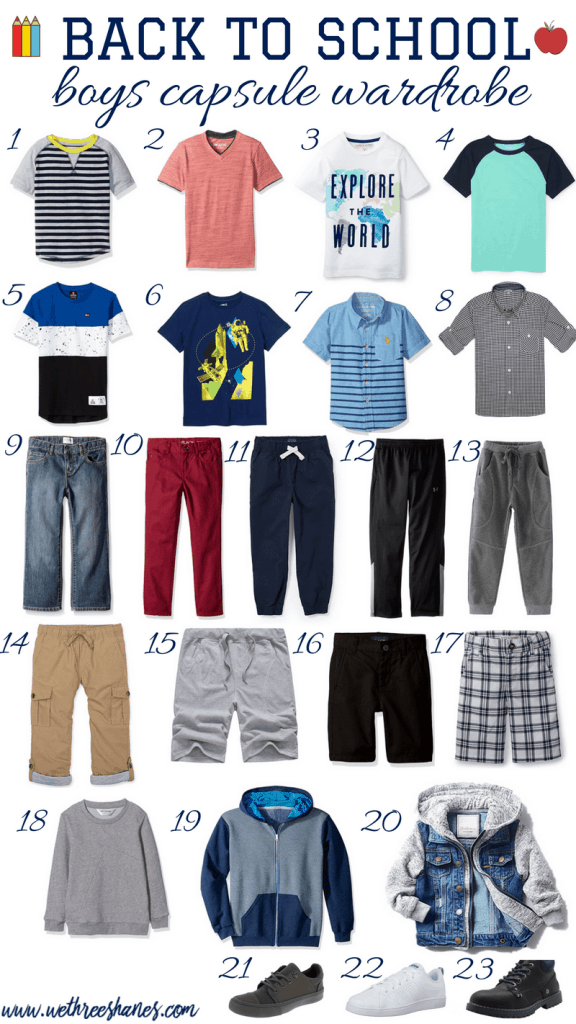 Simplify school mornings by creating a Back to School Capsule Wardrobe for Boys. Build over 60 outfits with 17 clothing items, saving you time and money. | We Three Shanes