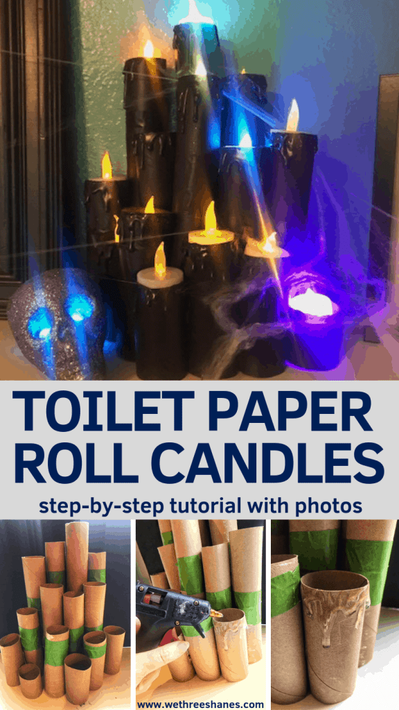 Now you can make your own Fake Halloween Toilet Paper Candles with this simple tutorial. It's cheap, easy and so much fun. In just a couple of steps you'll have your own creepy set. Create your own today! | We Three Shanes