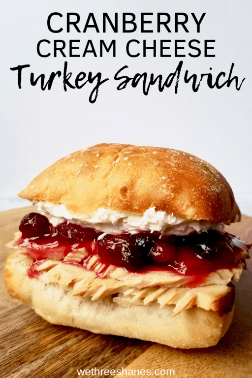 This Killer Cranberry Cream Cheese Turkey Sandwich combines some of your favorite Thanksgiving leftovers into one easy to make, mouthwatering sandwich. | We Three Shanes