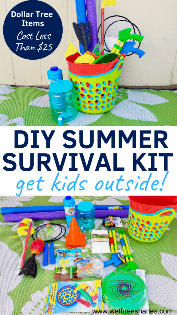 "Tired of hearing the words ""I'm Bored"" all summer long? Find out how to use awesome Dollar Store finds to create your own budget friendly DIY Summer Survival Kit. Get bored kids off screens and playing outside this summer break. 