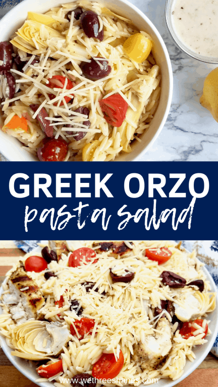 Greek Orzo Pasta Salad is the perfect summer side dish. Light and lemony flavors make it a big crowd pleaser so keep the recipe on hand because people will be asking for it! Simple and Delicious! | We Three Shanes