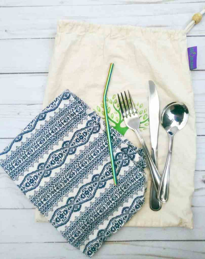 It's easy to make your own reusable kit for dining out. We use 182.5 billion plastic straws a year. Add in single-use plastic eating utensils and that's a ton of waste. It's easy to cut back with a couple simple changes. | We Three Shanes