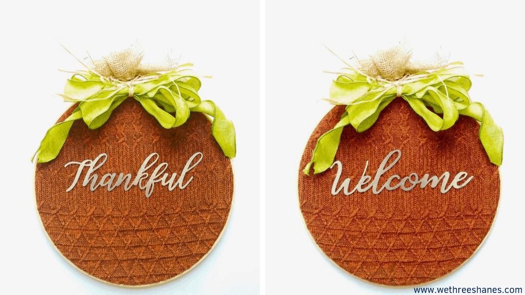 Create your own cozy DIY Pumpkin Hoop Wreath with this easy to follow tutorial. The perfect Fall decor for your wall or door. It's budget friendly and comes together in minutes. | We Three Shanes