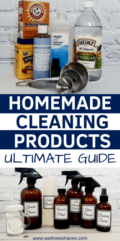 Want to ditch the chemicals found in commercial cleaners and save some cash? Check out how easy it is to make natural cleaning products using eco-friendly items you most likely have at home. Save some green while going green! | We Three Shanes