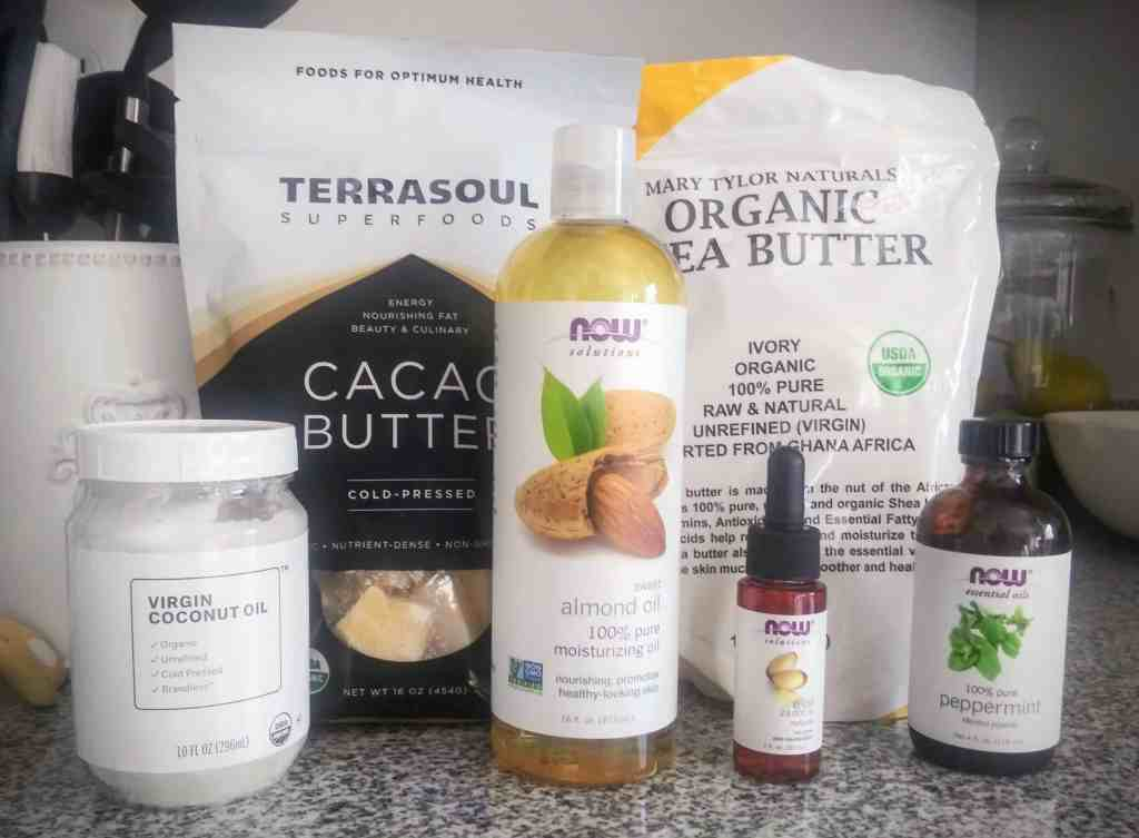 Skin healthy ingredients needed to make your own whipped body butter winter recipe.