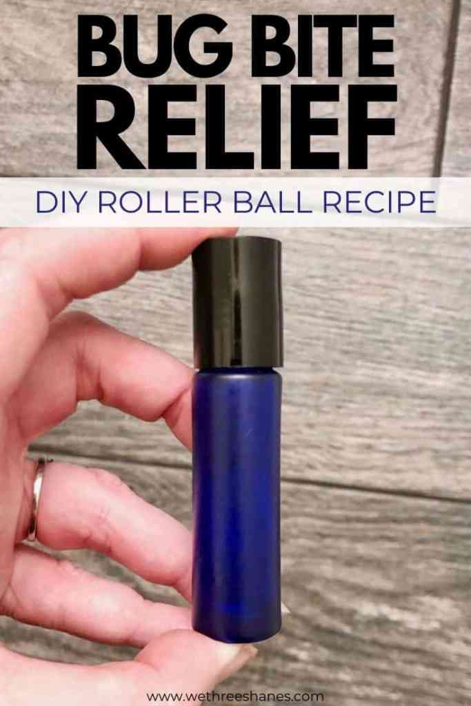 Make this soothing Bug Bite Relief roller ball recipe and get rid of itchy bug bites fast! Easy to carry with you so it's on hand all summer long. | We Three Shanes