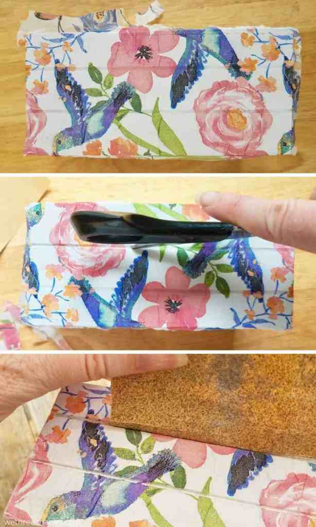 Check out this adorable shabby chic mini crate craft using Dollar Store supplies and mod podge! Learn how to make this decoupage DIY here. | We Three Shanes
