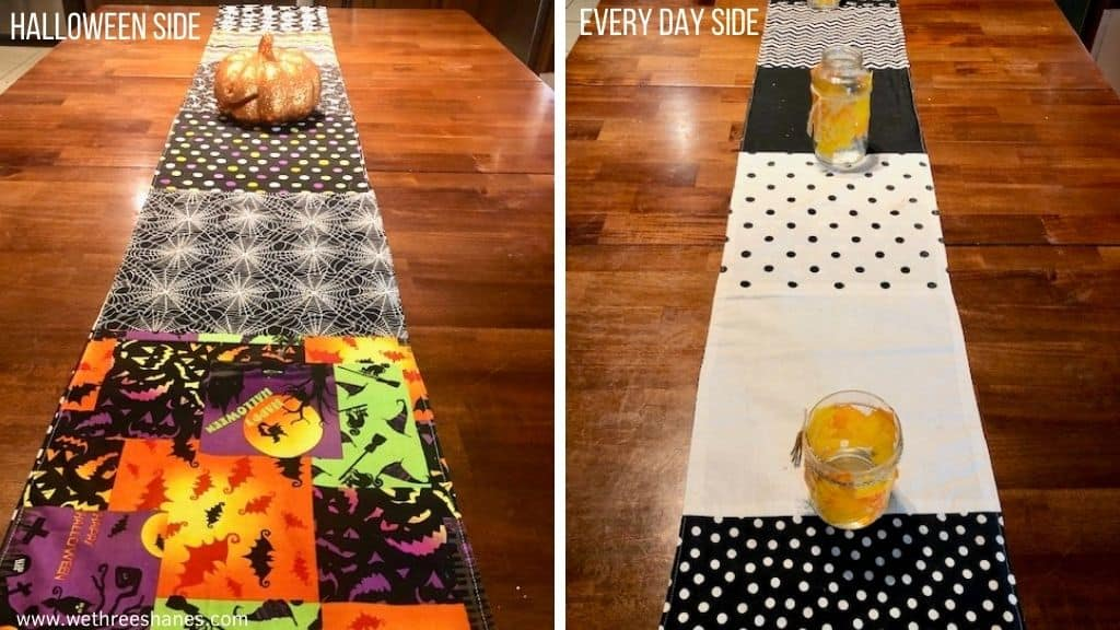 Add some holiday cheer to your dining room with a reversible table runner.  Easy sew project uses fat quarters for fun seasonal table decor. | We Three Shanes