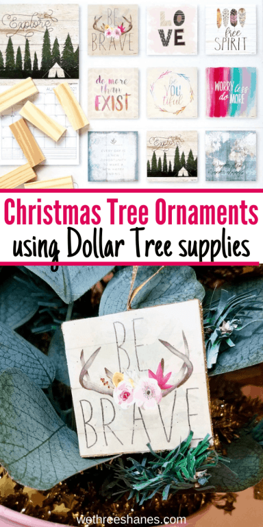 Make these girl power ornaments for your daughter's bedroom Christmas tree! DIY the ornaments and a cute tree out of Dollar Tree supplies. | We Three Shanes