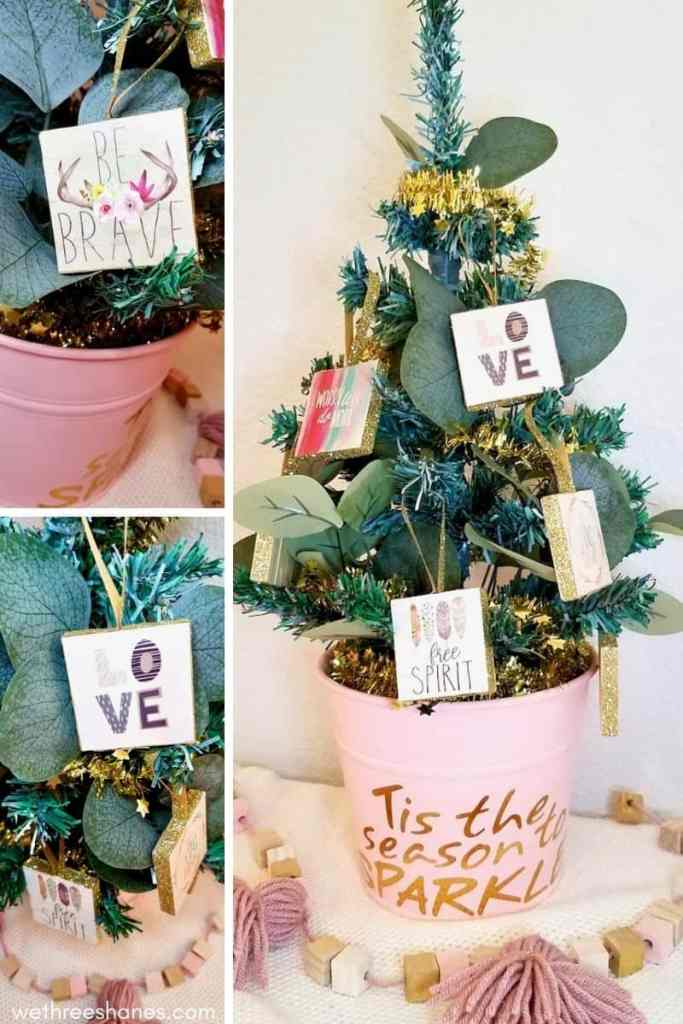 This Dollar Tree Christmas tree is made using dollar store supplies and will look adorable in any girl or tweens bedroom this Christmas! | We Three Shanes