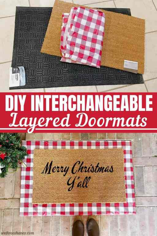 This DIY interchangeable layered doormat is SO easy to make.  Now you won't have to keep buying a new rug for each season. Just change out the fabric on your mat and you're all set.  Easy and cost effective! | We Three Shanes