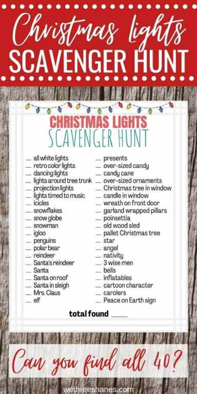 Plan on taking the family out to look at Christmas lights? Add a fun twist to the outing with these free Christmas Lights Scavenger Hunt and Bingo Printables. | We Three Shanes