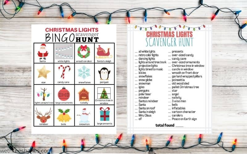 Christmas Lights Scavenger Hunt | Free Printables