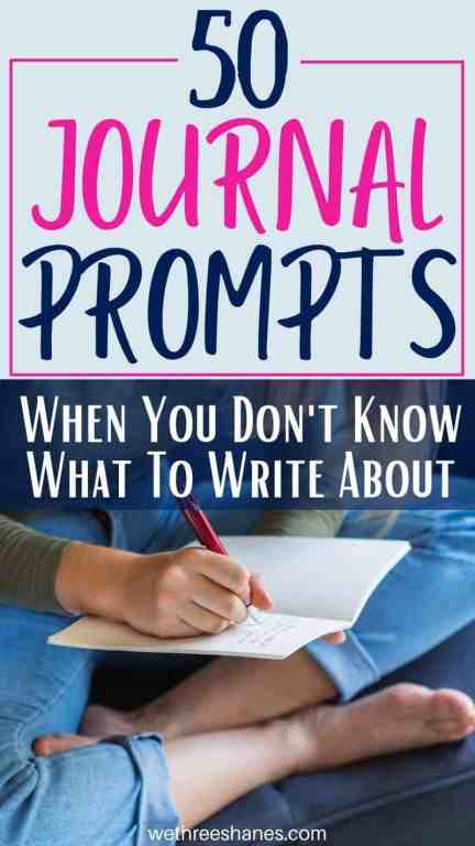 Here are 50 unique journal prompts for you to use when you can't think of anything to write about. | We Three Shanes