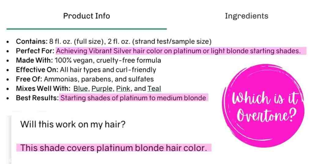 Screen shots from Overtone website saying mixed things about Vibrant Silver hair color working on platinum to light, platinum to medium blonde, and covers platinum blonde hair. | We Three Shanes
