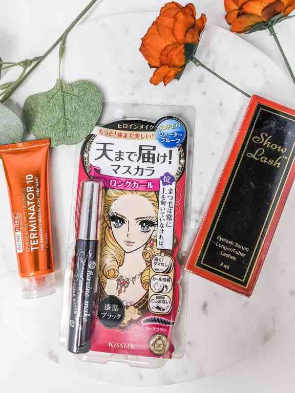 Terminator 10 acne treatment, Japanese mascara, and Show lash eyelash serum
