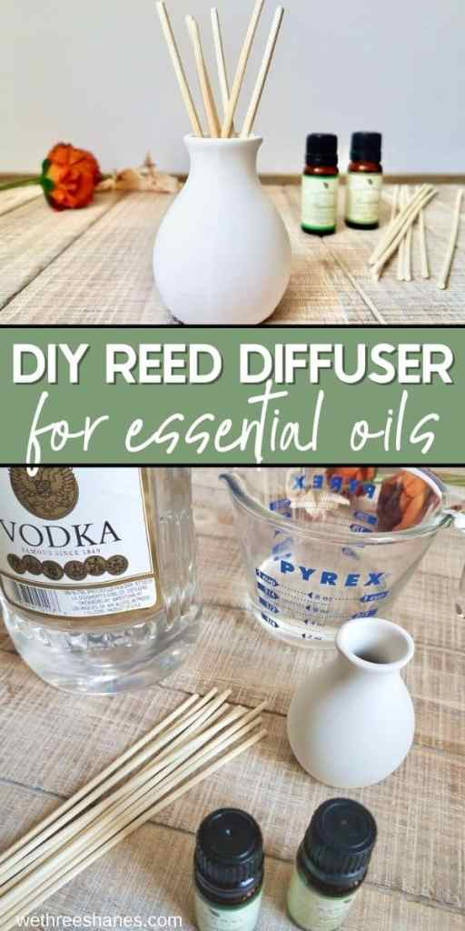 Learn how to make a reed diffuser with this simple tutorial. Bring a light, natural scent to your home with essential oils. | We Three Shanes
