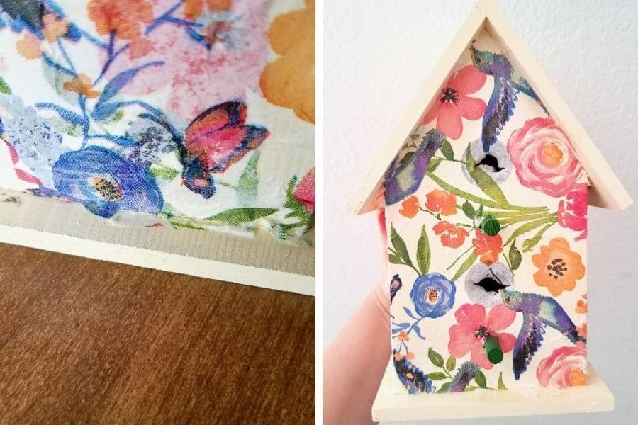 On the left photo you see ta close up of the bottom edge of the birdhouse with a little extra napkin that needs to be sanded away. On the right you see a full shot of the decoupaged birdhouse with a puncture through the napkin in the two openings of the birdhouse.