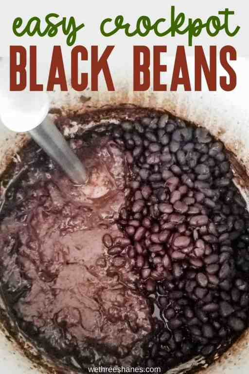 This crockpot black bean recipe could not be any easier. No chopping or measuring required to make these super flavorful beans. | We Three Shanes