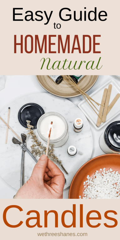 Homemade natural candles are simple to make when you know what you are doing. So check out this easy to follow guide and you will be making your own natural candles like a professional in no time. | We Three Shanes