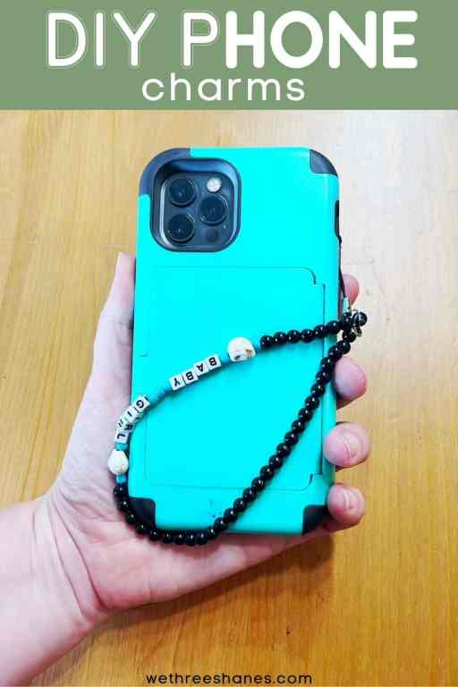Learn how to make your very own phone charm to help carry your phone.  Customize it the exact way you want it. The possibilities are endless. | We Three Shanes