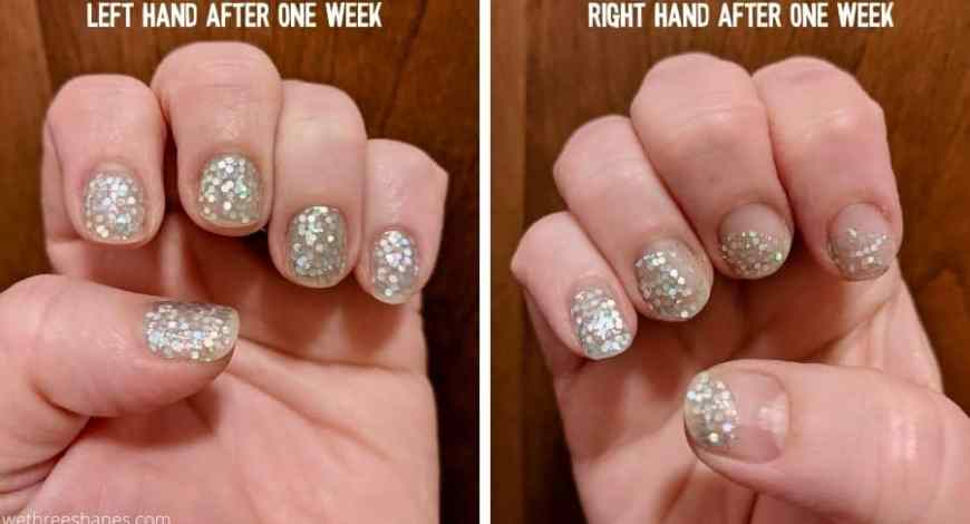 Nails Mailed review. Left hand looks good after one week of wear but the glitter nail strips shifted on the right hand.