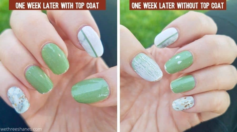 Nails Mailed Review top coat vs no top coat. The hand that had a top clear coat shows wear on the tips of the nails but that's really it. The nails mailed strips without a top coat peeled and lost pigment on the solid green color nails but the patterned nails held up pretty well.