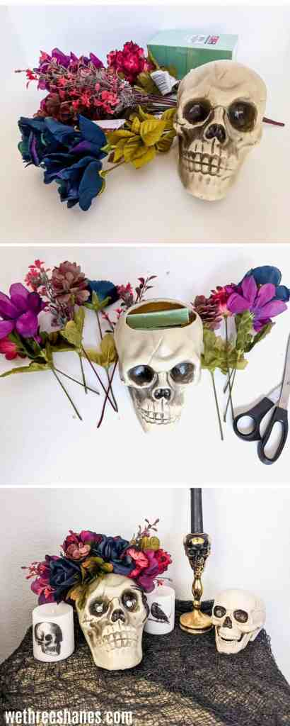 three pictures stacked on each other.   Top one shows a skull head, some flowers and a foam block.  Middle picture shows the skull cut open with foam inside of it and some fake flowers all around it next to a pair of scissors. Bottom picture shows a halloween display with candles, skull heads and netting.