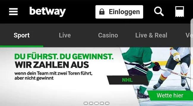 Betway NHL Lead Cashout