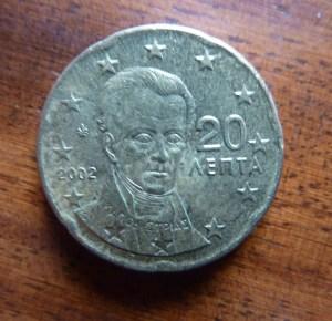 Die einzige Griechen-Münze in meiner Geldbörse ist ein 20-Cent-Stück mit dem Porträt des ersten Griechen-Präsidenten Ioannis Kapodistrias (1776-1831). Ich werde 20 Cent und noch ein bisschen mehr an ein Hilfsprojekt für die Menschen in Griechenland spenden. Wahrscheinlich an aerztederwelt.org