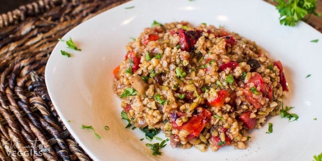 Freekeh Pilaf With Eggplant & Red Pepper