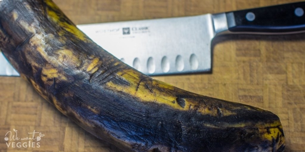 Prepped plantain with knife
