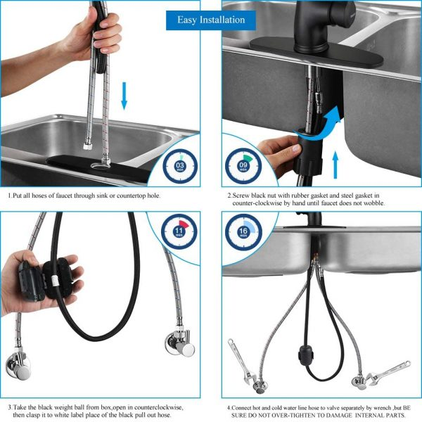 wewe black kitchen sink faucet single handle pull down matte black kitchen faucet with sprayer