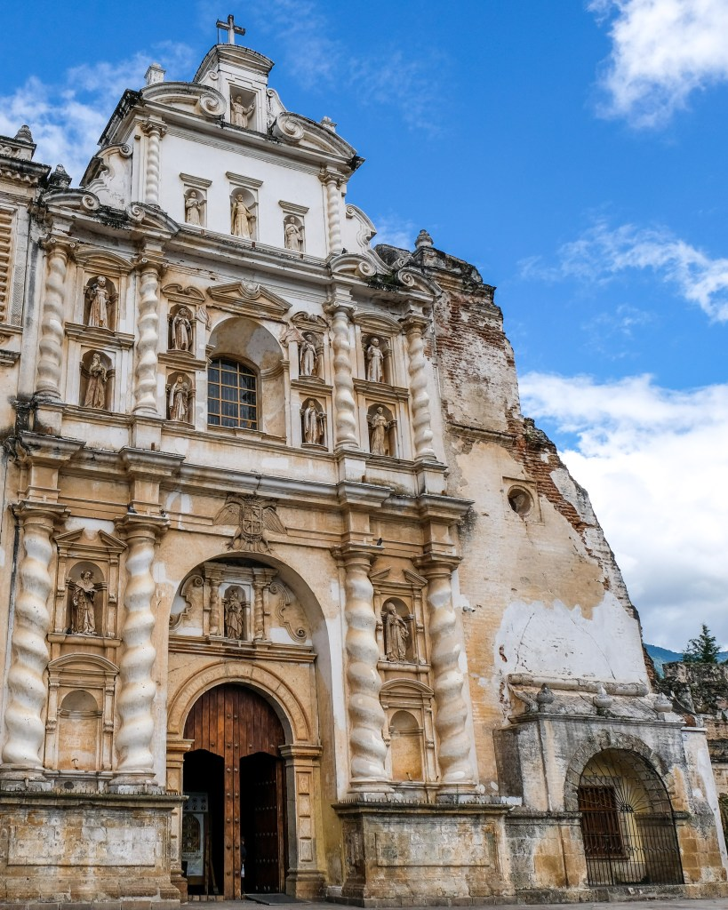 Detailed facade of San Francisco church iglesia in Antigua Guatemala.