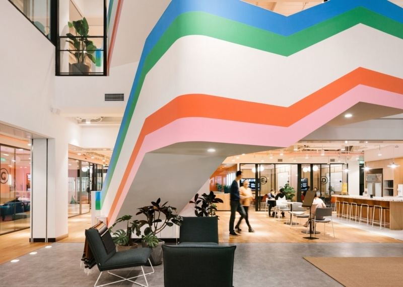 10 Stunning Staircases In Wework Locations Around The World Ideas   Commercial Building Staircase Design   Office   Interior   Edgy   Contemporary   Drawing