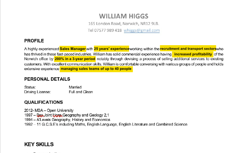 Good example of a professional profile for a CV